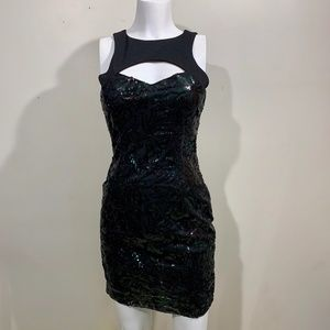 NEW Cache Party Dress Black Green Sequins